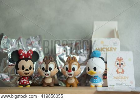 Samut Prakan, Thailand - May 4, 2021 : Figurine Of Mickey Mouse Family Figures Mystery Box Blind Box