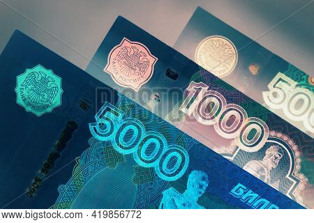 Russian Banknotes 5000, 1000 And 500 Rubles Close-up. Dark Spectacular Multicolor Illustration About