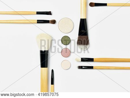 Flat Lay With Set Of Professional Decorative Cosmetics, Makeup Tools. Beauty Blog, Make Up Artist, F