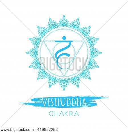 Vector Illustration With Symbol Vishuddha - Throat Chakra And Watercolor Element On White Background