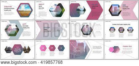Minimal Presentations Design, Portfolio Vector Templates With Hexagonal Design Background, Hexagon S