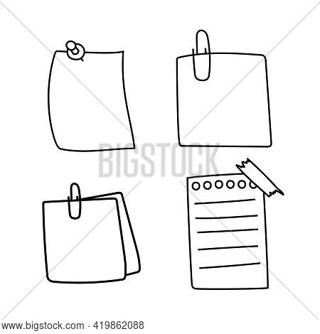 Set Hand Drawn Doodle Notepaper For Messages. Vector Note Papers With Tape And Pin.