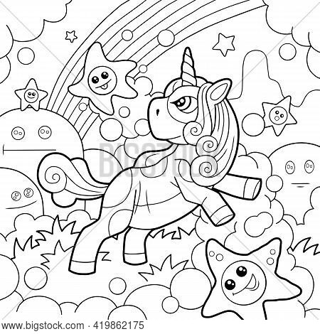 Cartoon Cute Pony Unicorn, Coloring Page, Outline Illustration