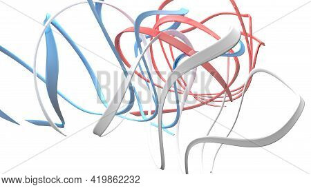 French English American Flag Abstract Ribbons On White Background - 3d Rendering Illustration