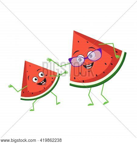Cute Watermelon Characters With Emotions, Face. Funny Grandmother With Glasses And Dancing Grandson