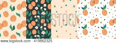 Apricot Seamless Pattern Set. Exotic Tropical Peaches Or Apricots Fresh Fruit Collection. Whole Juic