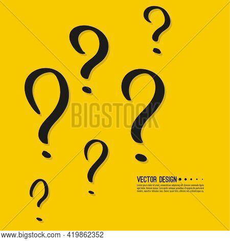Hand Drawn Question Mark. Help Symbol. Faq Sign On Yellow Background. Vector Quiz Symbol.