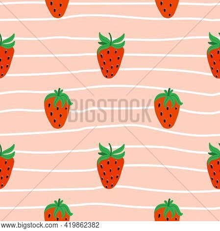 Strawberry Seamless Pattern. Hand Drawn Forest Or Garden Berry. Whole Juicy Berries, Doodle Summer E