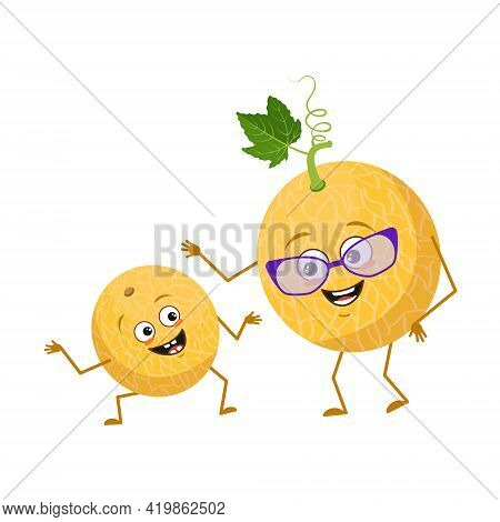 Cute Melon Characters With Emotions, Face. Funny Grandmother With Glasses And Dancing Grandson With