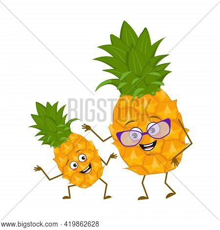 Cute Pineapple Characters With Emotions, Face. Funny Grandmother With Glasses And Dancing Grandson W