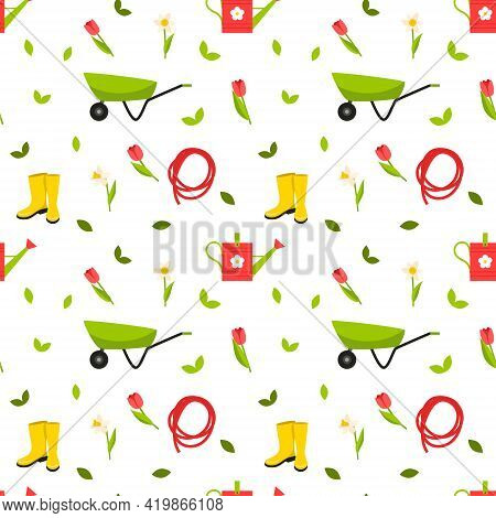 Seamless Pattern With Gardening Tools, Boots, Watering Can, Wheelbarrow, Hose And Red Tulips And Daf