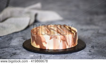 Delicious Coffee Mousse Cake With Mirror Glaze. Modern Dessert.