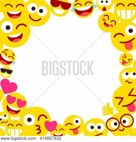 Photo Frame With Funny Smileys. Emoticons And Empty Blank Space For Text. Set Of Emoji With Differen
