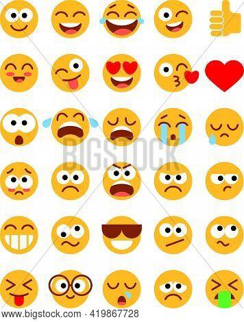 Emoji Pack. Set Of Funny Classic Emojis. Flat Style. Isolated On White Background. Vector Illustrati