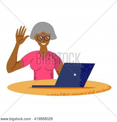 Happy 60s Older Mature Middle Aged. Adult Woman Waving Hand Holding Digital Tablet Computer.video Co