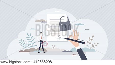 Confidential Or Classified Document With Padlock Protection Tiny Person Concept. Safe And Seal Files