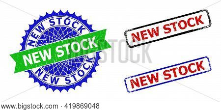 Bicolor New Stock Seal Stamps. Blue And Green New Stock Badge With Sharp Rosette And Ribbon Design E