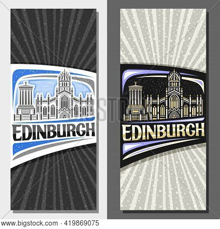 Vector Layouts For Edinburgh, Decorative Leaflet With Outline Illustration Of Famous Edinburgh City