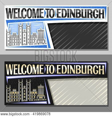 Vector Layouts For Edinburgh With Copy Space, Decorative Voucher With Illustration Of Edinburgh City