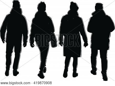 Illustration Of Silhouettes Young Citizens Walking Outdoors Together