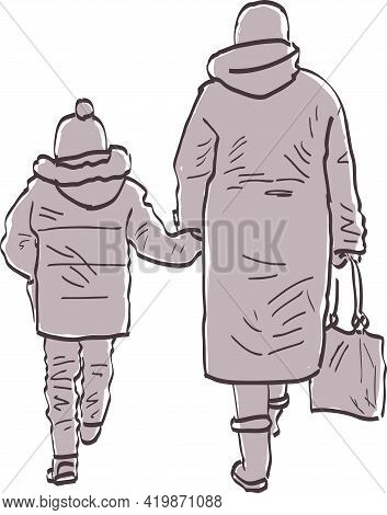 Drawing Of Grandmother With Her Grandson Going On A Walk