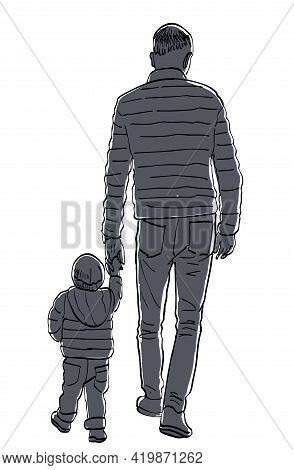 Drawing Of Silhouettes Father And His Baby Walking On A Stroll