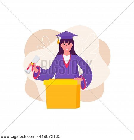 Happy Graduated Woman In Traditional Graduation Gown And Cap. Graduate Ceremony. Educated University