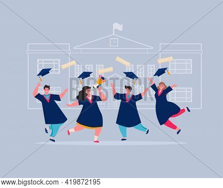 Graduates In College Or University Education Students In Academic Dresses Celebrating. Students Grad