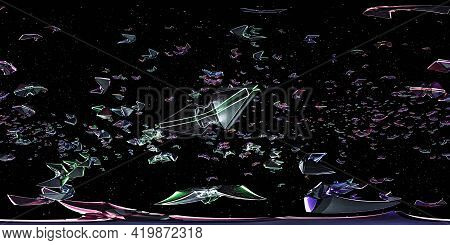Full 360 Degree Panorama Of Space Ship Craft Fleet In Space 3d Render Illustration Hdri Hdr Vr Style