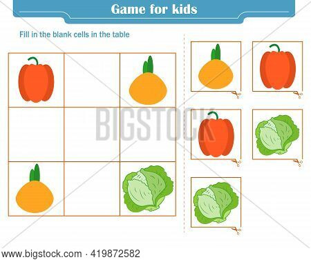 Logic Game For Children. Fill In The Blank Cells In The Table So That In Each Row And Column The Ele