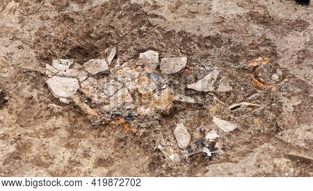 Archaeological Work, Excavated Shingles, Pieces Of Ancient Clay Artifact, Vessels In Clay Soil
