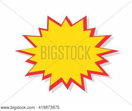 Starburst In Cartoon Style. Red Speech Bubble Badge Isolated On Background. Boom Attention Grabber S