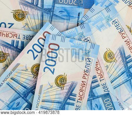 Money Background. Russian Currency. Banknote 2000 Rubles. Financial Crisis, Ruble Devaluation Concep