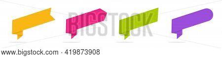 Origami Ribbon Banner. Set Of Colorful 3d Labels. Paper Banner Layout Template. Vector Design Elemen