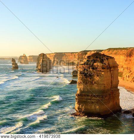 Blue Ocean Waves Near Twelve Apostles Sea Rocks. Famous Landmark Near Great Ocean Road , Port Campbe