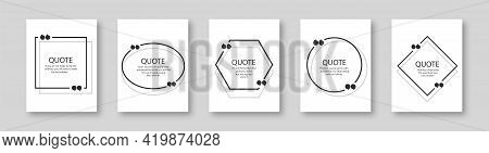 Vector Illustration Of Quote In Black Frame With Quotation Marks On Gray Background. Bubble Quote Bo