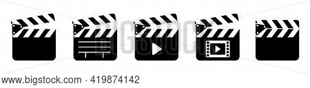 Clap Board Icons Set. Open And Closed Movie Film Icon.