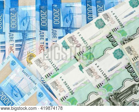 Money Background. Russian Currency. Banknote 2000 Rubles. Banknote 1000 Rubles. Financial Crisis, Ru