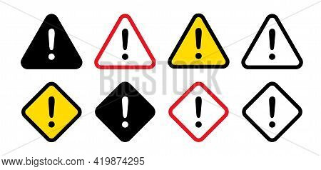 Set Of Warning Signs With An Exclamation Mark Inside. Danger, Hazard, Attention Symbol. Vector Illus