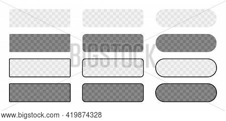 Blank Button In 3D Style On White Background. Set Transparent Button Isolated.