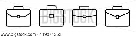 Suitcases Icons Set. Briefcase In Linear Style. Business Case Vector Icon Collection.