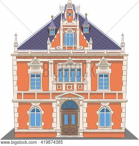 Beautiful Polish Red Brick With Columns And Stucco.