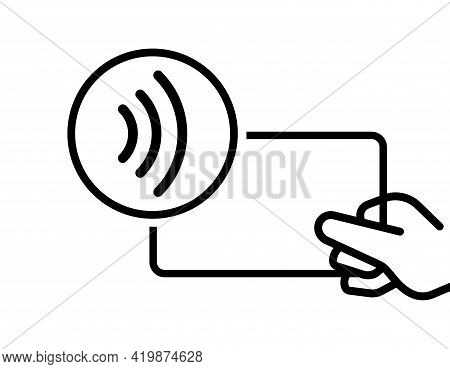 Contactless Payment Vector Icon. Bank Card With Hand Contactless Pay. Outline Payment Sign Isolated