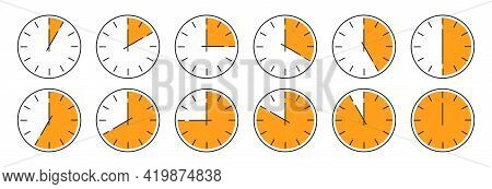 Clock Vector Icon. Set Of Round Clocks Faces Showing Different Time. Time Sumbol Isolated. Vector Il