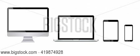 Set Monitor, Laptop, Tablet, Smartphone In Dark And Grey Colors. Realistic Devices Blank Screen Mock