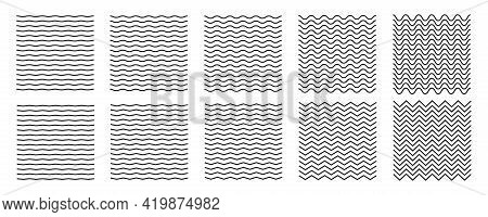 Wave Line And Wavy Zigzag Lines. Black Underlines Wavy Curve Zig Zag Line Pattern In Abstract Style.