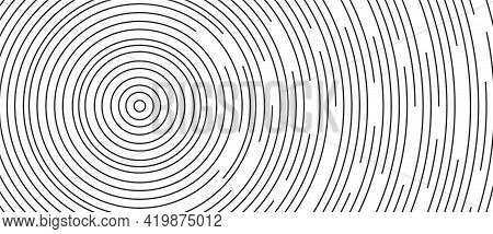 Circular Lines Geometric Background In Abstract Style. Modern Line Art Illustration With Black Circu