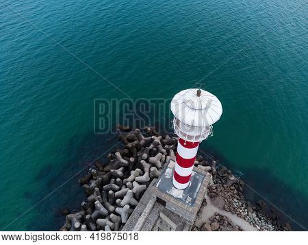 Aerial View Of A Lighthouse In The Seaport Of Burgas, Bulgaria.