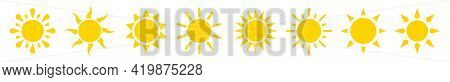 Sun Icon Set. Sunshine Yellow Vector Sign. Sunset Light Icons Collection In Flat Style. Sun Ray Vect