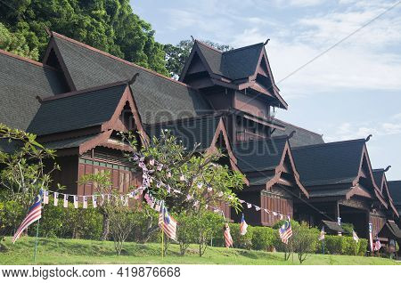 The Exterior Of The Melacca Sultanate Palace Musuem On A Sunny Day In Melaka Malaysia.